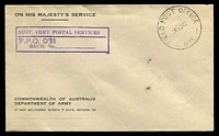 Lot 1165 [1 of 2]:Field Post Office 'FIELD POST OFFICE/26NO42/031' (Burwood NSW), on unaddressed OHMS Dept of Army cover, with boxed 'AUST. ARMY POSTAL SERVICES/F.P.O. 031/REGD. NO. ...' (A1). [Rated 50 by Proud]