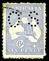 Lot 116:6d Blue BW #18ba perf 'OS', Cat $80, fluffy perfs, pulled BRC perf and some toning on perfs.
