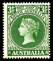 Lot 3125:1955 SA Stamp Centenary BW #330d 3½d green with Weak star in right corner, Cat $40, couple of mild tone spots, mostly along bottom edge.