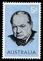 Lot 3172:1965 Churchill BW #430f 5d with, Retouch below STR of AUSTRALIA, Cat $20.