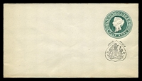 Lot 4198:1888 'JHIND STATE' on Stamp & Black Arms HG #B7 ½a green on white laid paper, size b.