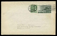 Lot 4332:1926 use of 5c green & 20c olive-green, cancelled with 'MILANO/15-16/8/VI/1926/CENTRO' (A1) machine, to Berkeley, California, on folded letter containing typed story entitled 'A Stroll about Milan'.