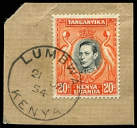 Lot 21888:Lumbwa: 'LUMBWA/21JA/54/KENYA', Proud #D3, on 20c black & orange KGVI, on piece.