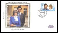 Lot 3997:1981 Royal Wedding Cat #1248 20c Chales & Di, on Benham Silk Collection 1 FDC, cancelled with 'PHILATELIC BUREAU/WANGANUI N.Z./29JULY1981/FIRST DAY OF ISSUE/ROYAL WEDDING' (A1).