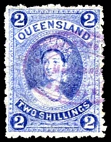 Lot 6424:1882-95 Large Chalons Wmk 1st Crown/Q Sideways SG #152 2/- bright blue, Cat £32, fiscal cancel.