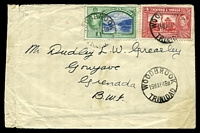 Lot 28424 [1 of 2]:Woodbrook: 'WOODBROOK/19MAY48B/TRINIDAD', Proud #D4, cancelling 1c green & 5c red KGVI on cover to Grenada, extensive creasing at left edge.