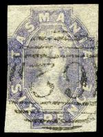 Lot 2212:1860-67 Imperf Chalon Wmk Double-Lined Numeral SG #46 6d grey-violet, 2 good margins & 1 close margin, 1 margin slightly trimmed, Cat £65, cancelled with second allocation BN '62' of Newtown.