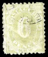 Lot 5648:1891-92 6d yellow-green, P10, SG #D6.