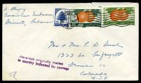 Lot 24955:1956 use of 10p & 15p fruit with 0.50p blue tree, cancelled with Washington machine of JUL19 1956 on plain cover from the US Embassy, Beiruit to Colorado USA, bearing 'This article originally mailed/in country indicated by postage' (A1-) handstamp in purple, small opening tear at top.