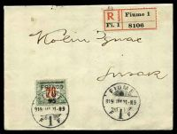 Lot 22172:1919 use of 45f on 20f dark green & red Hungary postage due (Mi# 30), cancelled with 'FIUME/919/JAN21-N9/F 1 F', on plain registered cover, trimmed flap & small closed tear at top.