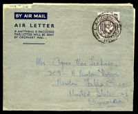 Lot 4483:1947 use of 6d blackish purple KGVI P11½, cancelled with double-circle 'LAGOS/3NO/47/NIGERIA' (B1) on formular air letter to Ohio, USA.