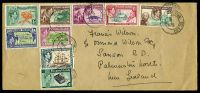 Lot 24628:1956 use of KGVI Pictorial set (SG1-8), cancelled with double-circle 'PITCAIRN ISLAND/MR21/56' (A2-), on plain long cover to New Zealand, 1/- violet & grey seems to have become dislodged & is missing.