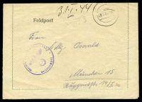 Lot 3796:1944 use of Feldpost letter sheet, cancelled with double-circle '23.1.44.-16', to Munich, with 'Olenitstelle ?? 3