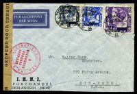 Lot 26101:1941 use of 1g violet, 30c blue & 15c ultramarine, cancelled with double-circle 'SOERABAJA/28.3.41.9/+++' (A1-), on I.H.N.I. Porthandel air cover to New York, with 'GEOPEND DOOR CENSUUR' label with double-circle 'NED.-IND. DEVIEZENINSTITUUT/DEVIEZEN/CENSUUR/SOERABAJA/6' (A1) in red, minor creasing to RHS, slightly reduced at base.