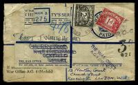 Lot 23373:1947 use of War Office A.G. 4 (Medals) registered cover with 'OFFICIAL/[crown]/PAID' label attached, addressed to Capt. J. Whitehead in Kensington, London, bears '3D/928' handstamp, franked with 1d carmine & 2d black-brown postage dues, some damage to TLC.