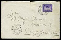 Lot 28191:1935 use of 50c violet, cancelled with double-circle 'POSTA MILITARE/8.7.35XIII/* NUMERO 98 *' (A1), on plain cover to Cagliari, includes letter in Italian, small closed tear at top & some light discolouration.