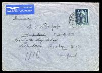 Lot 28739:1945 use of 50c violet-grey on blue-green, cancelled with double-circle 'GENEVE/+/27XI45-16/* ?? *' (A1-), on cover to England, backstamped with Muswell Hill machine of 29NOV1945, some creasing and small closed tear to top edge.