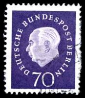Lot 22775:1959 Heuss Mi #186 70pf dark blue-violet, Cat €14, large envelope adherance.