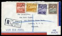 Lot 3220:1957 use of 4c scarlet, 6c yellow-ochre, 12c violet & 24c black & chocolate QEII Pictorials, cancelled with 'ST. JOHNS/*/21AU/57/ANTIGUA' (B1), on air cover to London, with 'R/ST. JOHN'S/ANTIGUA/No. A-' (A1+) reg handstamp, opened out for viewing with tear at TRC still attached to flap.