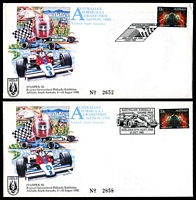 Lot 4278:1985 Formula 1 Grand Prix 33c electronic mail on AP Formula 1 souvenir covers x2 overprinted for Stampex 86, 1 cancelled with 'AUSTRALIAN FORMULA 1/GRAND PRIX/[roo & flag]/ADELAIDE SA 5000/3 NOV 1985' (A1) & the other with 'AUSTRALIAN FORMULA 1/GRAND PRIX/PRACTICE/DAY/[car]/ADELAIDE STH. AUST. 5000/31OCT. 1985' (A1).