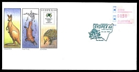 Lot 4801:1988 Sydpex '88 set of 9 AP souvenir covers featuring native animals franked with 50c Sydpex88 echidna framas, cancelled with each of the 9 postmarks used, featuring the floral emblems of NSW (in green), Vic, NT, SA, WA, Tas, Qld & ACT (in red) plus the Commonwealth coat of arms.