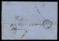 Lot 3755 [2 of 2]:1870 use of 20c blue Leopold II, cancelled with diamond '8' (B1), on wrapper to Amsterdam with 'BRUXELLES/20/NOV/1.5M/1870' (A1) & boxed 'PD' (A1-), backstamped with 'AMSTERDAM/20/NOV/70