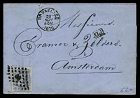 Lot 3755 [1 of 2]:1870 use of 20c blue Leopold II, cancelled with diamond '8' (B1), on wrapper to Amsterdam with 'BRUXELLES/20/NOV/1.5M/1870' (A1) & boxed 'PD' (A1-), backstamped with 'AMSTERDAM/20/NOV/70