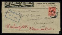 Lot 3579:1919 use of 1d red KGV, cancelled with barred oval 'I.S/D' on 'The Practical Engineer' wrapper to Washington DC, with crenulated box 'WAR DEPT./O.C.E./AUG 9 1919' (A1) in blue.