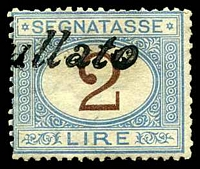 Lot 4327:1870-1925 SG #D34 2L blue & brown, Cat £43, cancelled with straight-line '[?]