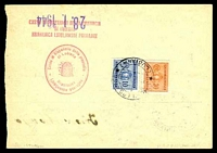 Lot 3729 [2 of 2]:1945 Wmk Flying Circle SG #D679,681 10c blue & 30c orange red paying bank fee for Lubiana money order cancelled with double-circle 'GORENJI LOGATEC/1/26.1.44/*[LUBIANA]' (A1).