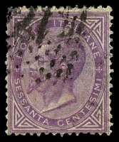 Lot 21062:1863 Victor Emanuel II SG #15a 60c mauve, Cat £26, light diagonal crease.