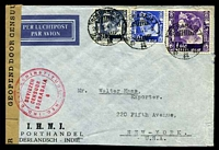Lot 4423:1941 use of 1g violet, 30c blue & 15c ultramarine, cancelled with double-circle 'SOERABAJA/28.3.41.9/+++' (A1-), on I.H.N.I. Porthandel air cover to New York, with 'GEOPEND DOOR CENSUUR' label with double-circle 'NED.-IND. DEVIEZENINSTITUUT/DEVIEZEN/CENSUUR/SOERABAJA/6' (A1) in red, minor creasing to RHS, slightly reduced at base.