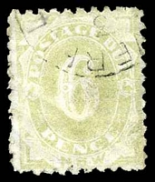 Lot 5684:1891-92 6d yellow-green, P10, SG #D6.