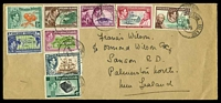 Lot 4252:1956: use of KGVI Pictorial set (SG1-8), cancelled with double-circle 'PITCAIRN ISLAND/MR21/56' (A2-), on plain long cover to New Zealand, 1/- violet & grey seems to have become dislodged & is missing.