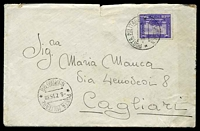 Lot 4334:1935 use of 50c violet, cancelled with double-circle 'POSTA MILITARE/8.7.35XIII/* NUMERO 98 *' (A1), on plain cover to Cagliari, includes letter in Italian, small closed tear at top & some light discolouration.