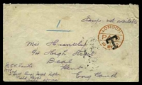 "Lot 24605 [1 of 2]:1900: use of plain envelope endorsed ""Stamps not available"", cancelled on arrival with 'LONDON/PAID/T/19MY00' (A1) in red & bearing 'T' (A1), addressed from ""2nd Batt Kings Royal Rifles/Field force/South africa"" & to England, backstamped with 'DEAL/330PM/MY19/00' (A2-), strong vertical crease, mild creasing to right edge & closed tear at top right."