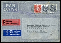 Lot 4712 [1 of 2]:1938 use of 20c red & 40c black-grey x2, cancelled with cancelled with double-circle 'BERN 1/14VI38·17/|||/*TRANSIT*' (A1-) on air cover to London, with light boxed straight-line 'EXPRESS FEE PAID' (A2) handstamp in purple & rose 'Eilsendung/xprès - Espresso' label.