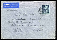 Lot 4713:1945 use of 50c violet-grey on blue-green, cancelled with double-circle 'GENEVE/+/27XI45-16/* ?? *' (A1-), on cover to England, backstamped with Muswell Hill machine of 29NOV1945, some creasing and small closed tear to top edge.