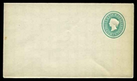 Lot 10121:1883 Queen Victoria Embossed Head HG #1 2d green on white paper, tone spot at left edge.
