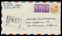 Lot 4490:1942 use of 6c orange air envelope uprated with 3c violet defence x2, cancelled with 'U.S./APR25/1942/9AM/NAVY