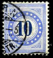 Lot 4418:1882 Granite Paper SG #D116B 10c ultramarine & dark-blue inverted frame, Cat £47.