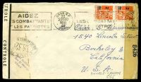 Lot 17508:1944 use of 2f on 5f orange vertical pair cancelled by Oran R.P machine of 30MAI44 on plain cover to the USA with 'OUVERT/T.B.320/PAR LES AUTORITÉS DU CONTROLÉ' (A1-), double-boxed '45' (A1) in red, 'CONTROLÉ' tape on left edge & 'EXAMINER BY/8426' tape at right, slight discolouration at left edge.
