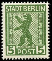 Lot 22769:1945 Mi #1 5pf green, with coloured flaw above nose.