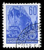 Lot 22708:1953 5 Year Plan Mi #377 60p dark ultramarine, Cat €12, CTO, shortish perfs at top.