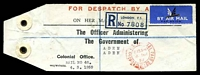 Lot 3075:1959 use of double-circle 'LONDON F. S. O[FFIC]IAL PAID/615PM/4MR/59' (B2) in red, on 'FOR DISPATCH BY A[IR]/ON HER M[AJESTY'S SERVICE]