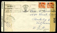 Lot 16535:1944 use of 2f on 5f orange vertical pair cancelled by Oran R.P machine of 30MAI44 on plain cover to the USA with 'OUVERT/T.B.320/PAR LES AUTORITÉS DU CONTROLÉ' (A1-), double-boxed '45' (A1) in red, 'CONTROLÉ' tape on left edge & 'EXAMINER BY/8426' tape at right, slight discolouration at left edge.