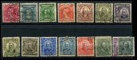 Lot 3770:1906-17 SG #174-87 simplied set to 5000r, Cat £13.3, 300r & 5000r have small thins, some toning. (15)