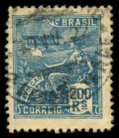 Lot 3771:1921-28 Allegoricals Wmk CASA DA MOEDA SG #329 200r blue, Cat £14.50, short perf.