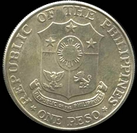Lot 201 [2 of 2]:Phillipines: 1967 Peso, partially toned.