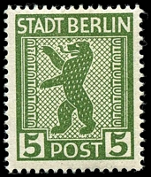 Lot 21908:1945 Mi #1 5pf green, with coloured flaw above nose.